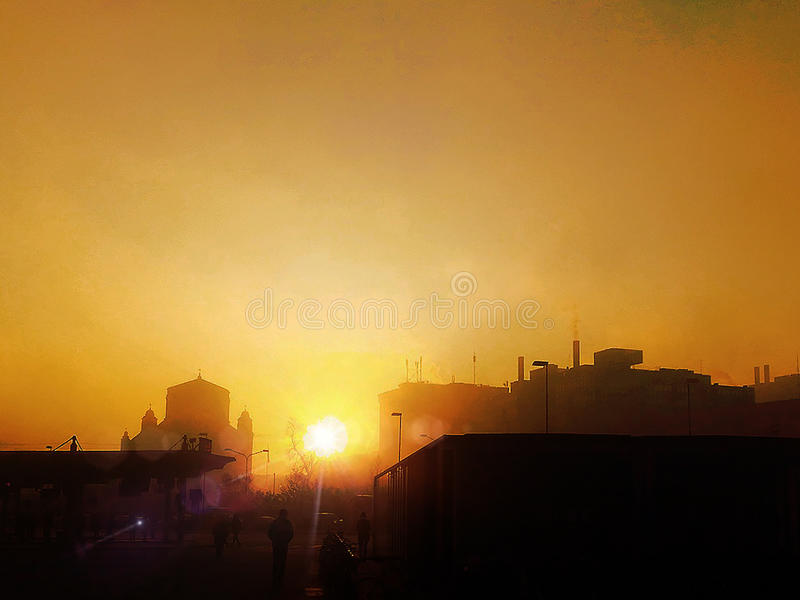 Sunset over Padova royalty free stock photography