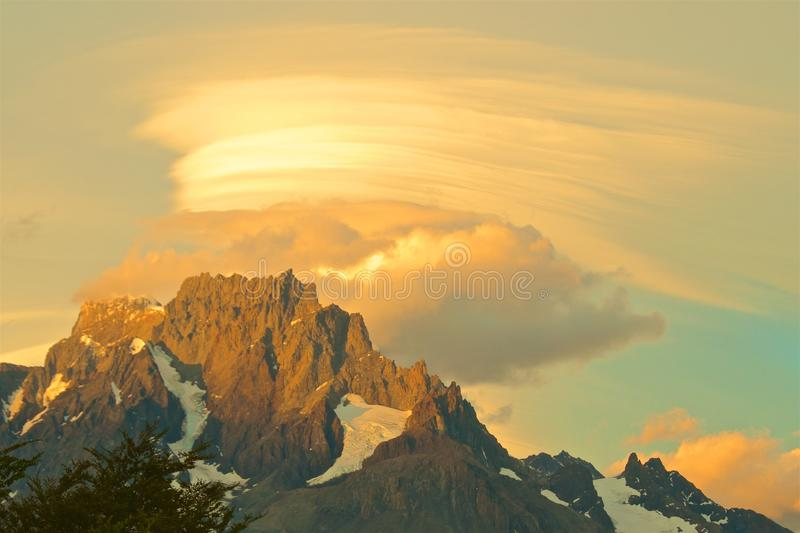 Sunset over Paine Grande Hill at Torres del Paine National Park in Chile royalty free stock image