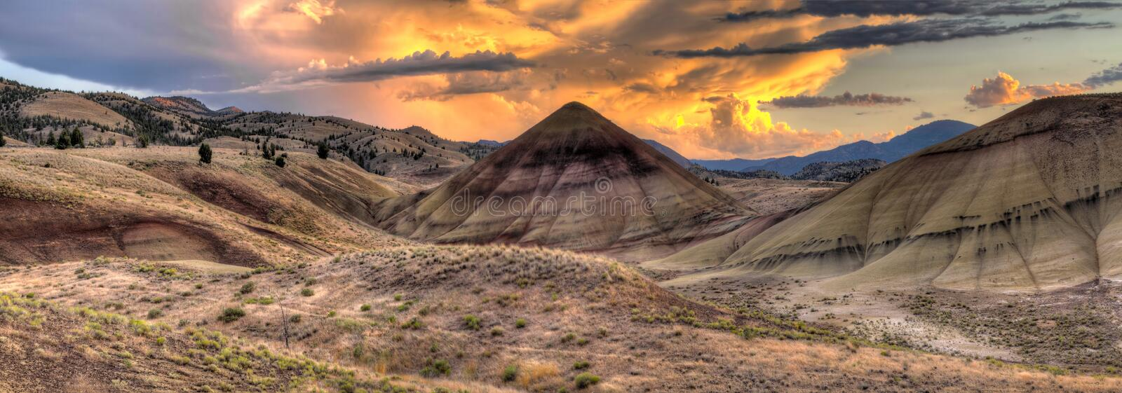 Sunset Over Painted Hills in Oregon stock photography