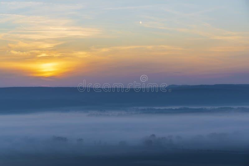 Sunset over Palava, Southern Moravia, Czech Republic stock photo