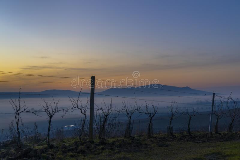 Sunset over Palava, Southern Moravia, Czech Republic stock photography