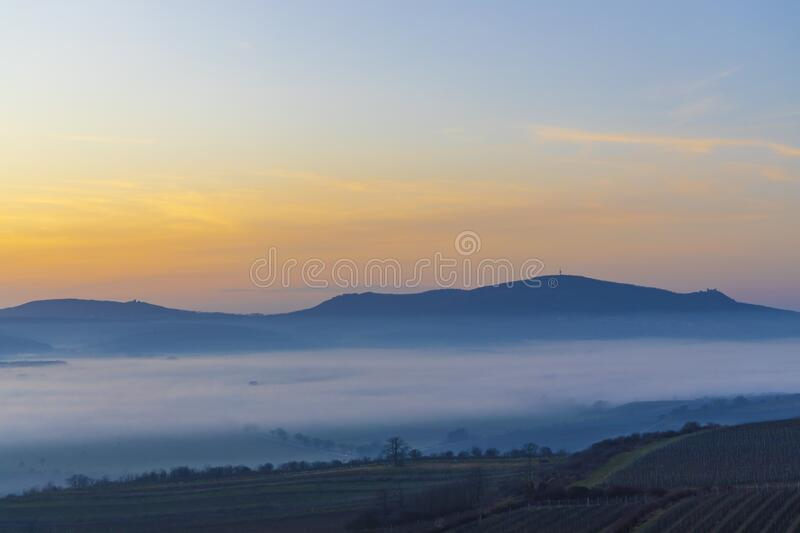 Sunset over Palava, Southern Moravia, Czech Republic royalty free stock images