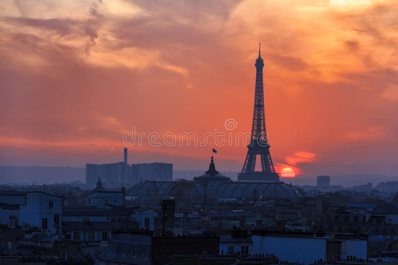 Sunset over Paris stock photos