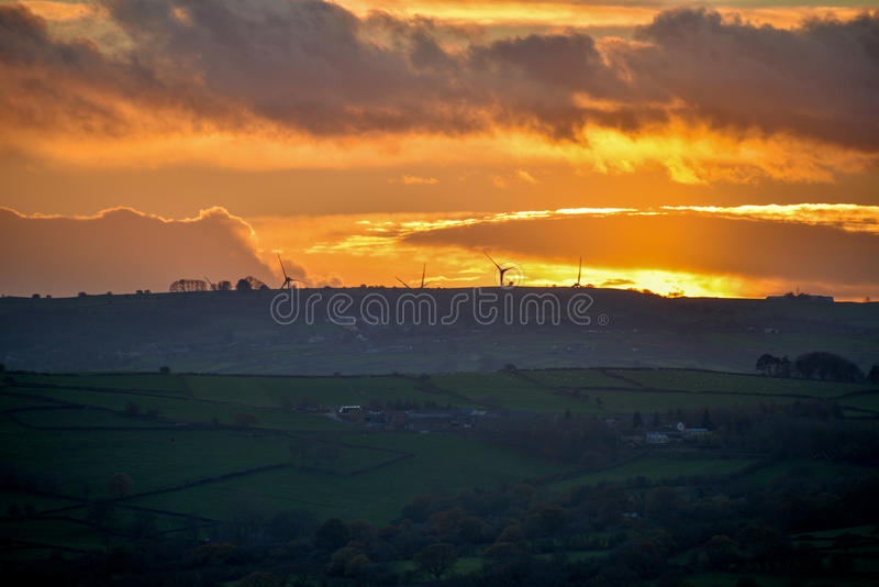 Sunset over the Peak district royalty free stock photos