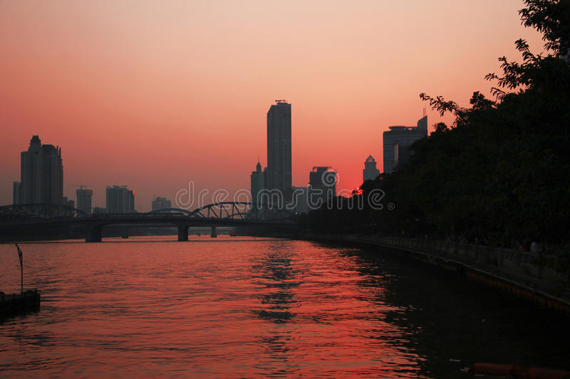 Sunset over Pearl river. Summertime evening in Guangzhou royalty free stock image