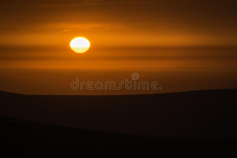 Sunset over Pembrokeshire moors on summer evening.Red sky and hi royalty free stock photos