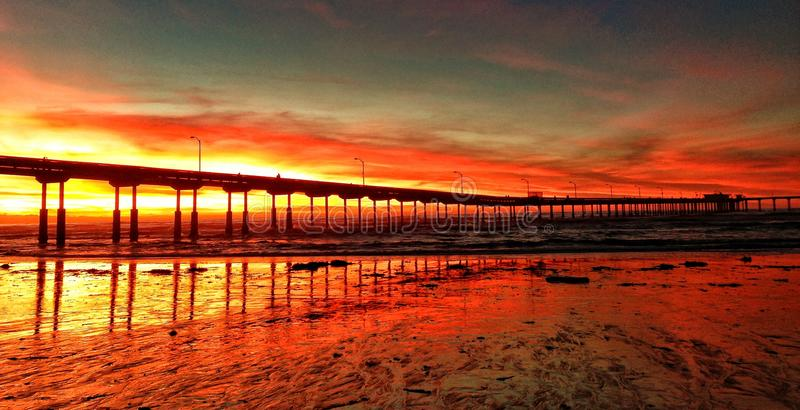 Sunset over a California, Pier royalty free stock photos