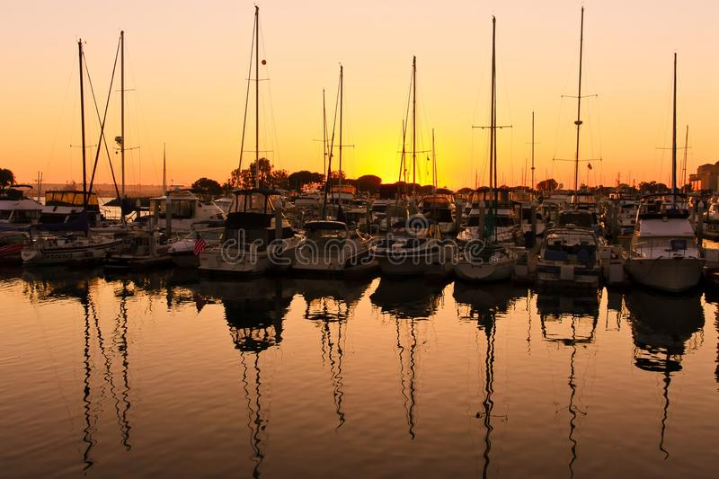 Sunset over the pier in San Diego royalty free stock image