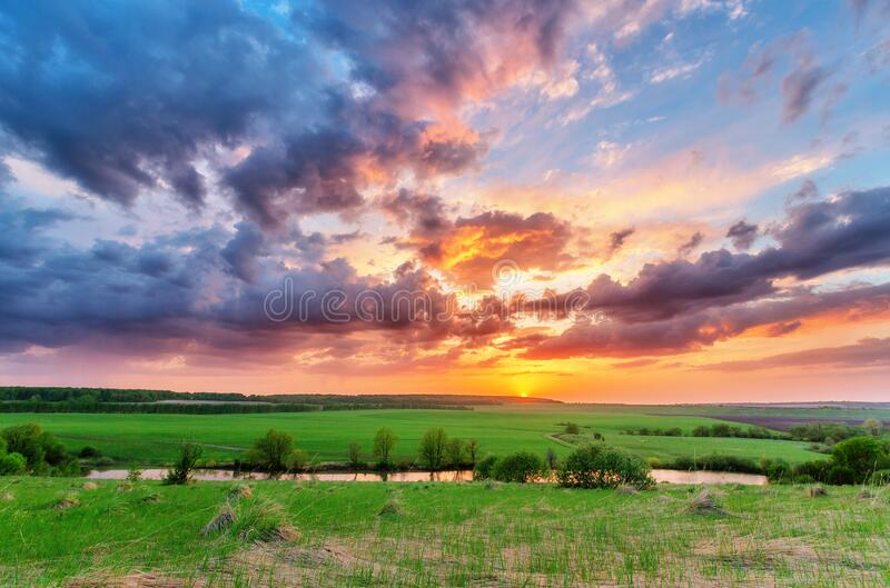 Sunset over plain. Russian landscape royalty free stock photo