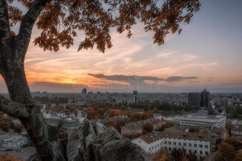 Sunset over plovdiv city, panoramic view, bulgaria, europe stock photography