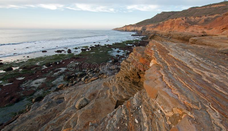 SUNSET OVER POINT LOMA TIDEPOOLS AT CABRILLO NATIONAL MONUMENT IN SAN DIEGO IN SOUTHERN CALIFORNIA USA stock images