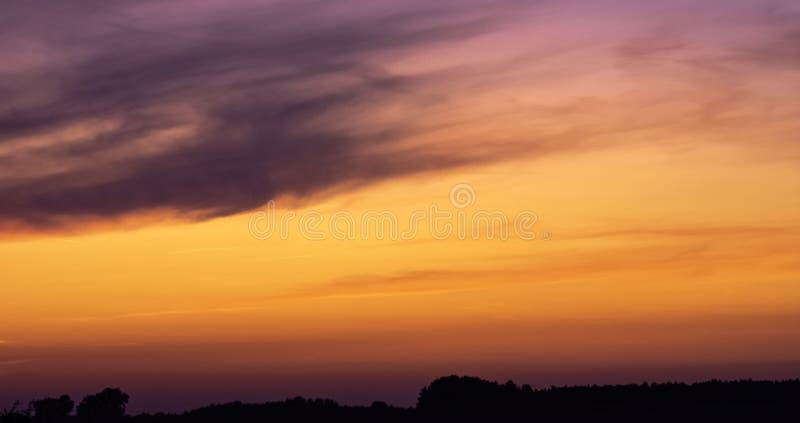 Sunset over Polish countryside - Choczewo, Pomerania, Poland stock photo