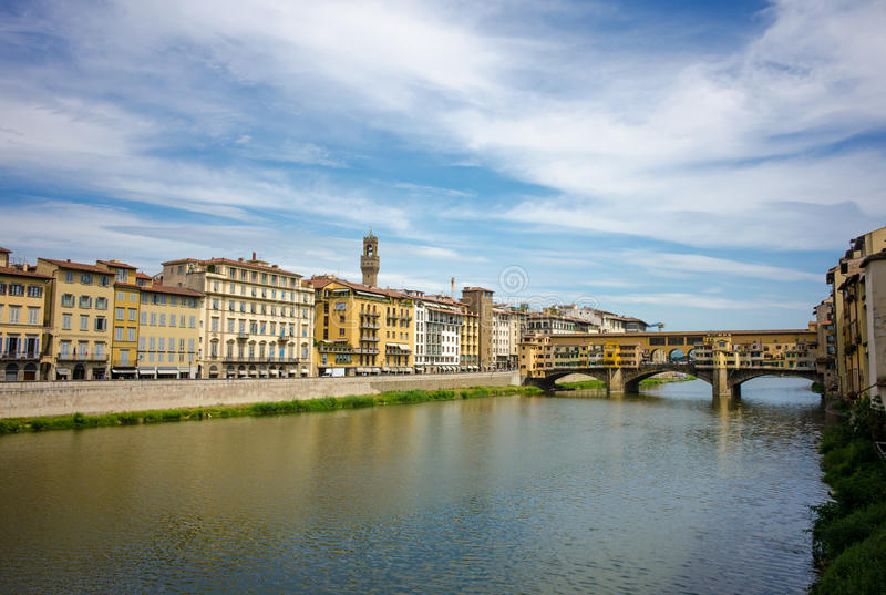Sunset over Ponte Vecchio royalty free stock image