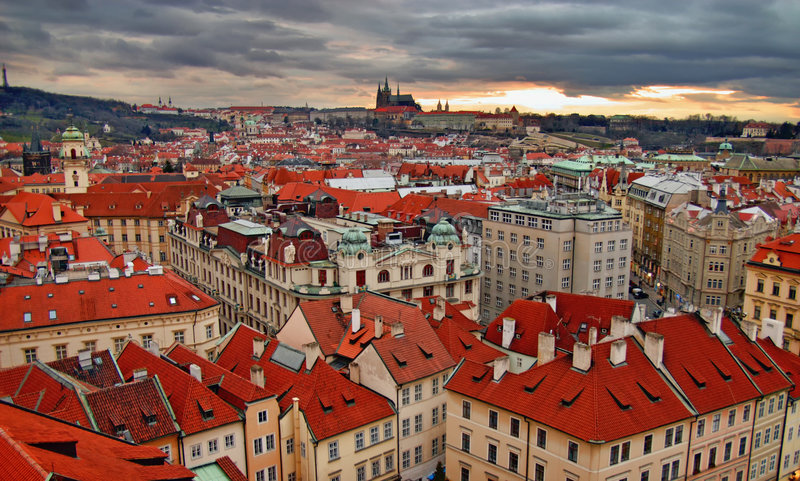 Sunset over Prague stock photography