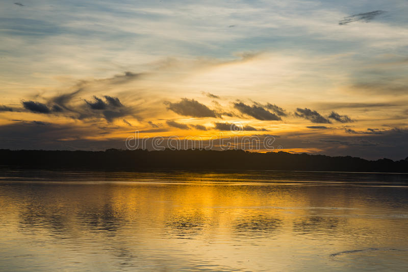 Sunset over the purus river royalty free stock photos