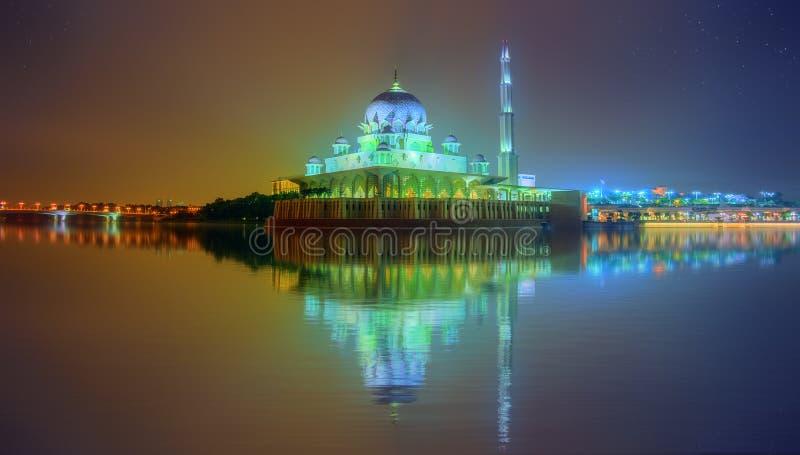 Sunset over Putrajaya Mosque, Kuala Lumpur. Sunset over Putrajaya Mosque and Panorama of Kuala Lumpur, Malaysia royalty free stock image