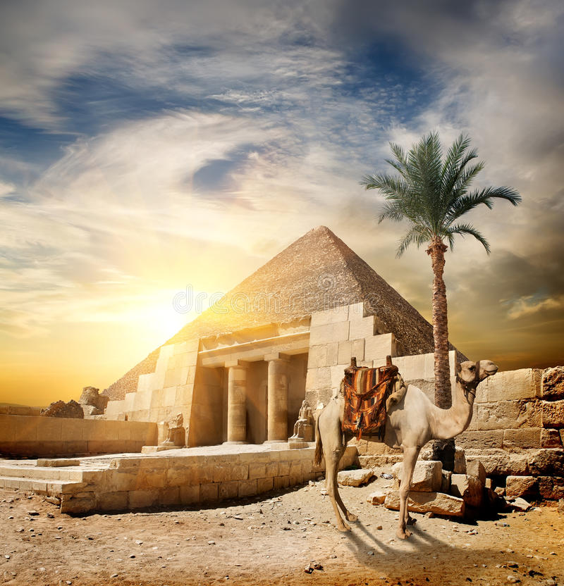Sunset over pyramid royalty free stock image