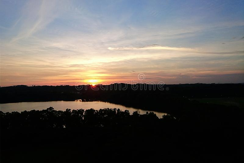 Sunset over quarry royalty free stock photography
