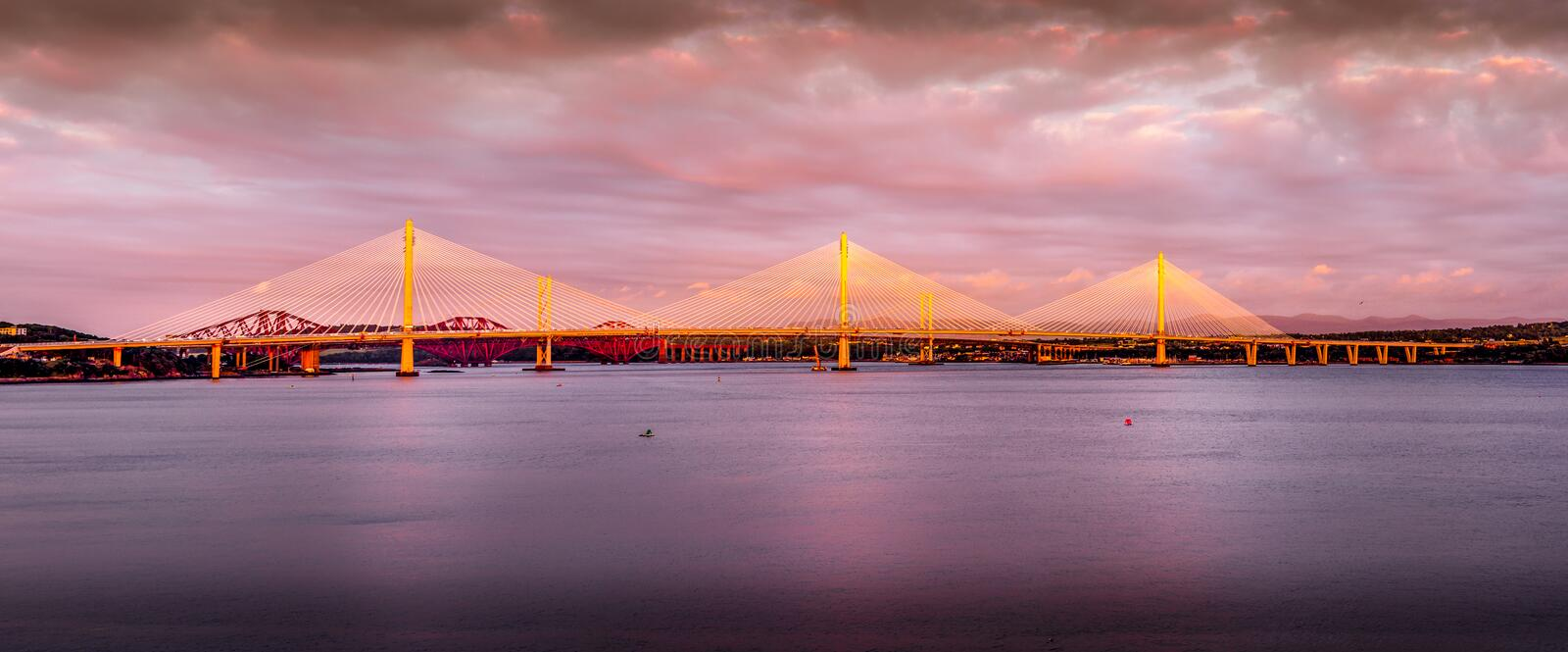 Sunset over Queensferry Crossing royalty free stock photo