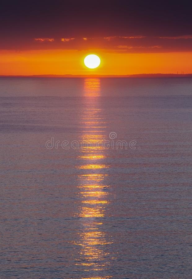 Gower sunset at Rhossili Bay royalty free stock photo
