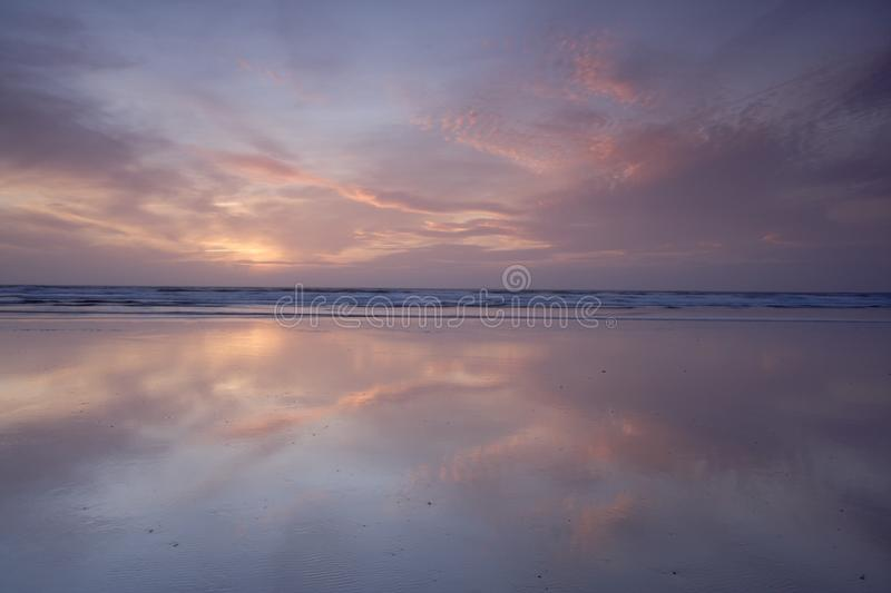 Sunset over Rhossili Bay, Gower Peninsula, Wales stock images