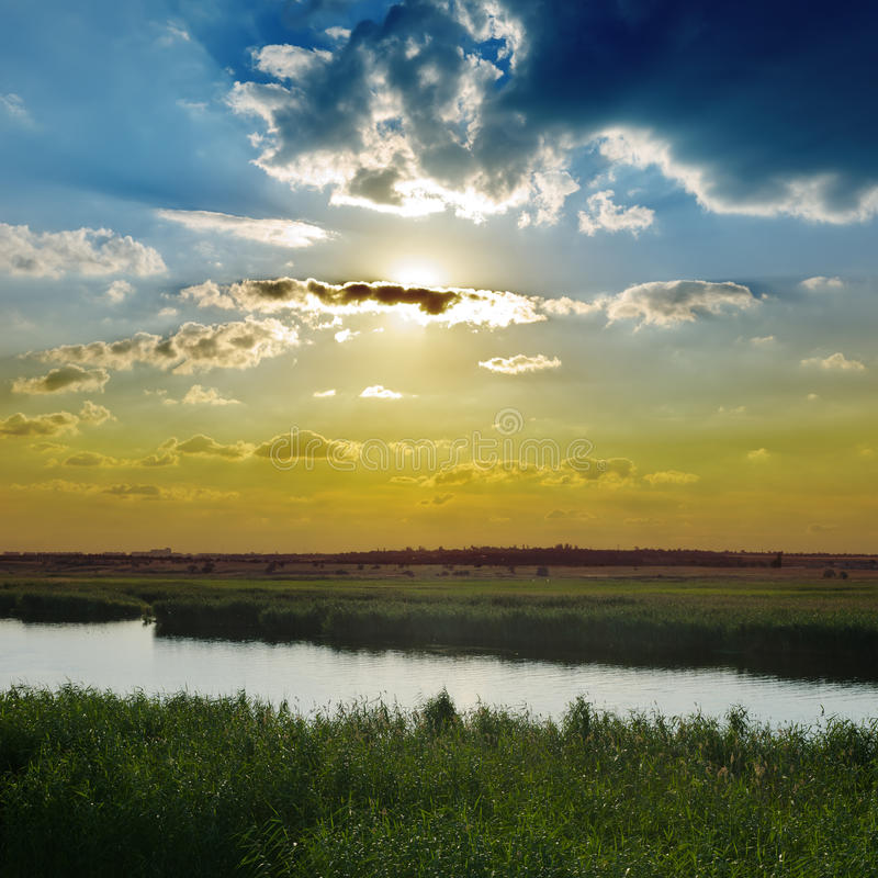 Download Sunset Over River Stock Photos - Image: 27140283