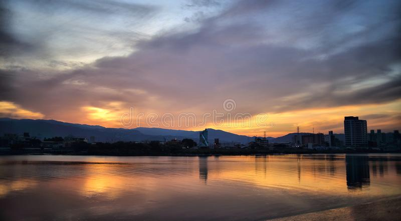 Sunset over river royalty free stock photo