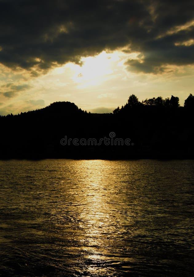 Sunset over river Dunajec. In village Stromowce Nizne and Cerveny Klastor stock photography