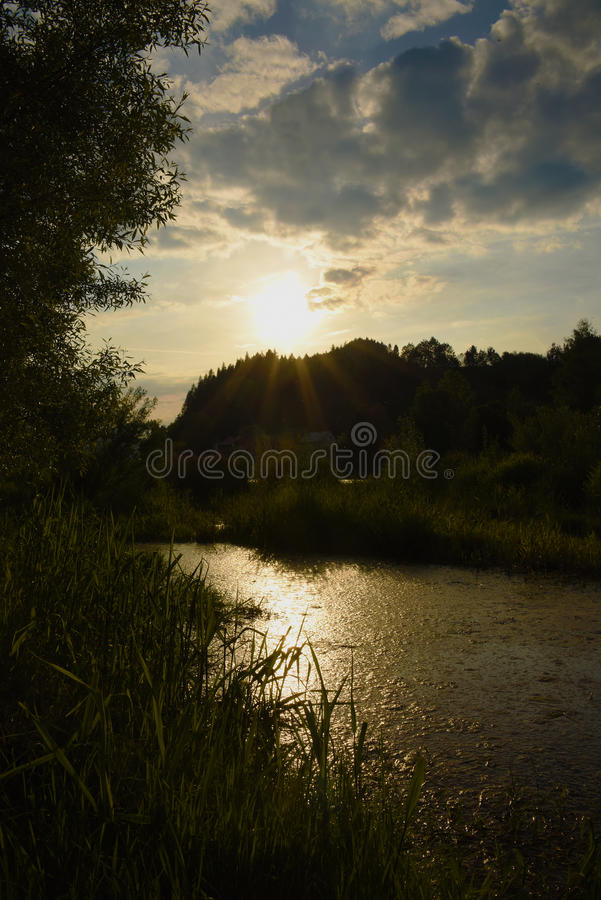 Sunset over river Dunajec. In village Stromowce Nizne and Cerveny Klastor royalty free stock images