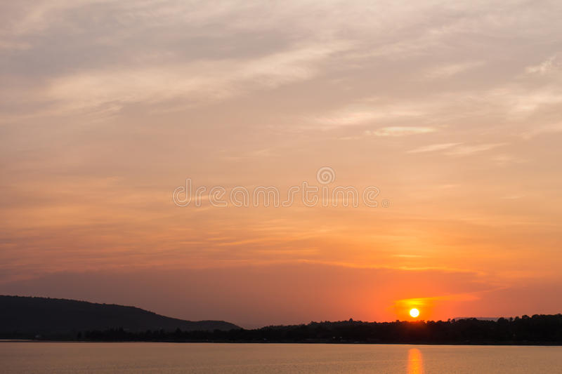 Sunset over river stock photography