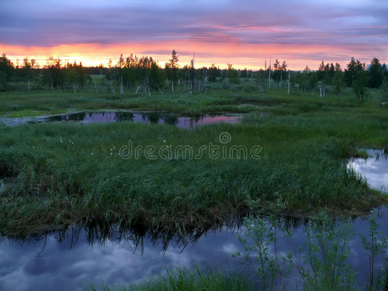 Download Sunset Over The River Nadym. Landscape Nature. Stock Photo - Image: 42176939