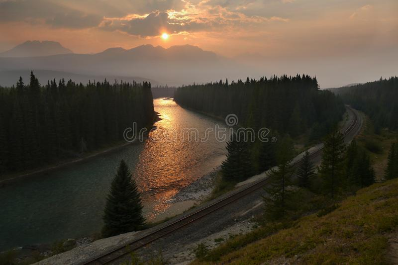 Sunset over the river stock image
