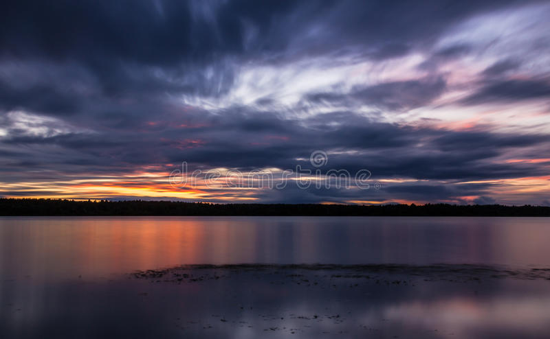 Sunset over river royalty free stock photography