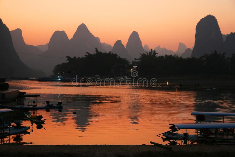 Sunset over the river at Xingping, Guilin royalty free stock photography