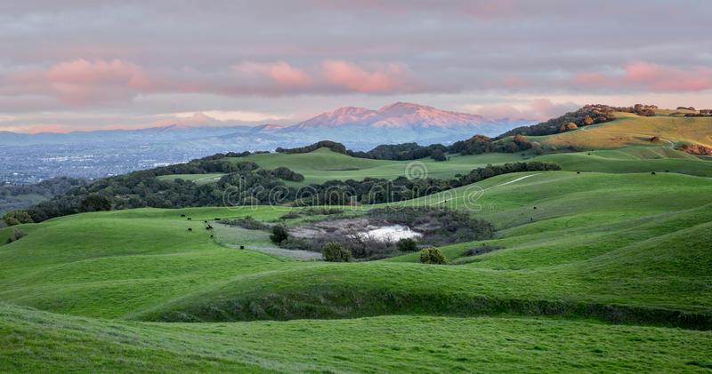 Sunset over Rolling Grassy Hills and Mount Diablo in Northern California. Views from Briones Regional Park near Martinez looking east. Contra Costa County stock photo