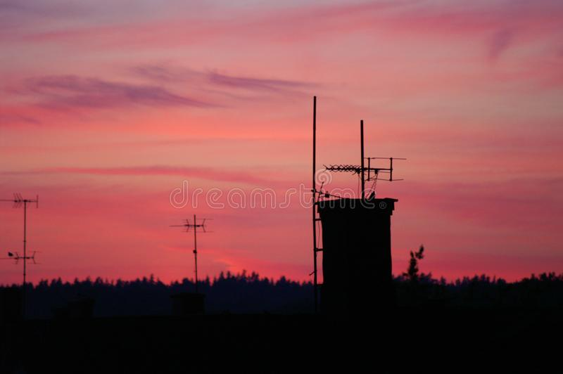Sunset over Ronneby in Sweden. Sun setting over the small town of Ronneby in southern Sweden royalty free stock image