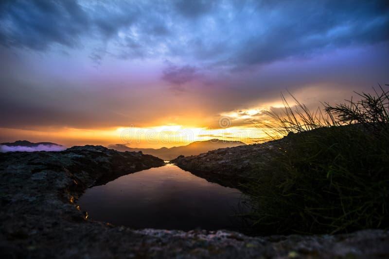 Sunset over rural Bulgaria stock photo