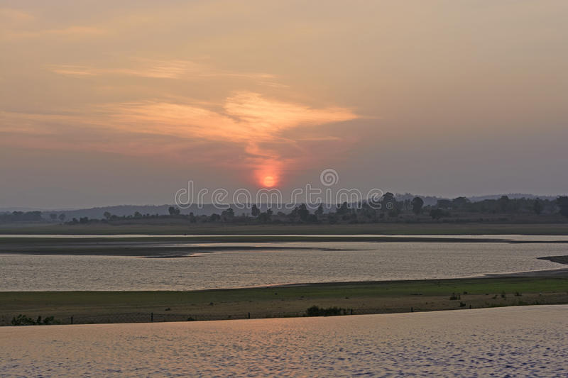 Sunset over Rural River royalty free stock image