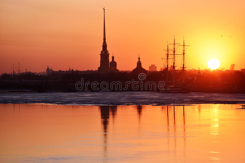Sunset over Saint Petersburg, Russia stock photos