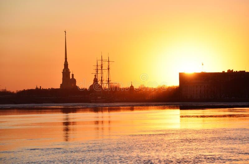 Sunset over Saint Petersburg, Russia stock photo