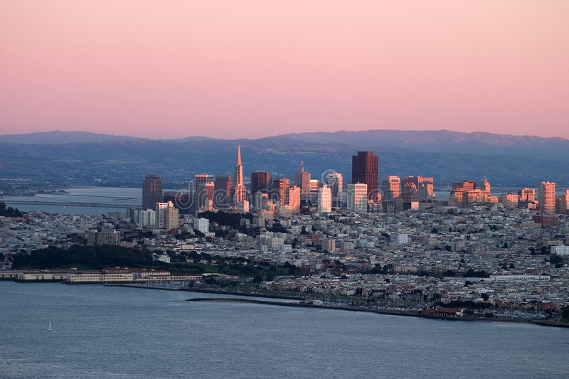 Download Sunset Over San Francisco With Pink Colors. Stock Photo - Image of scenic, architecture: 156016