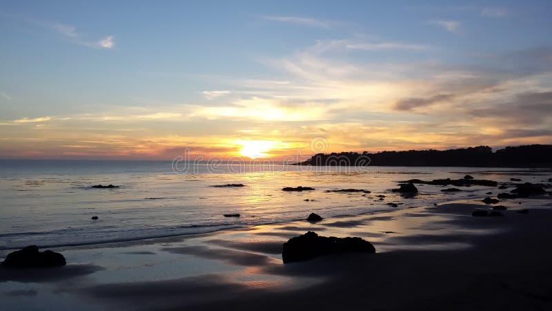Sunset over San Simeon Bay stock photo