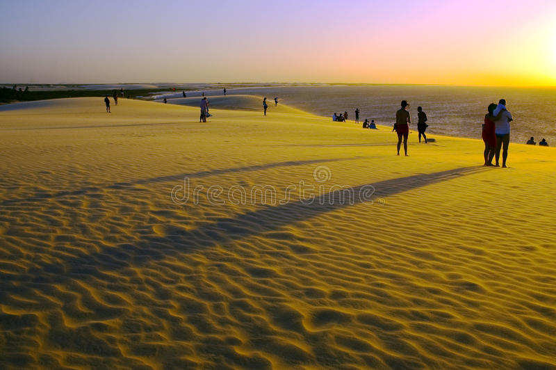 Sunset over sand dunes royalty free stock photo