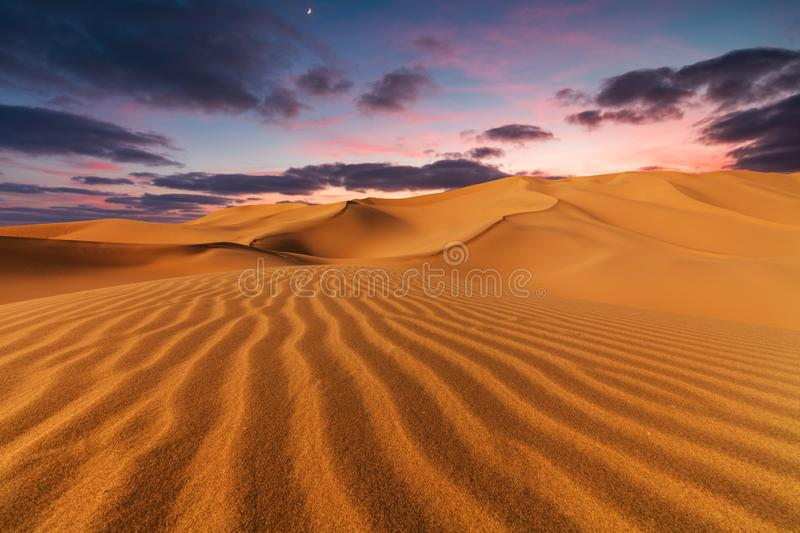 Sunset over the sand dunes in the desert royalty free stock images