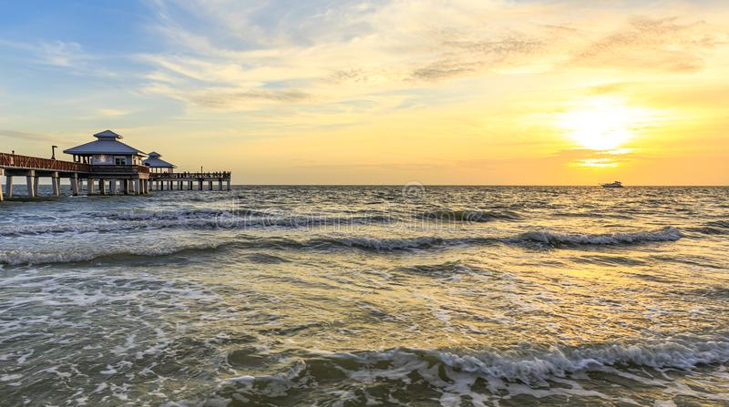Sunset over the Gulf of Mexico in Fort Myers Beach royalty free stock photos