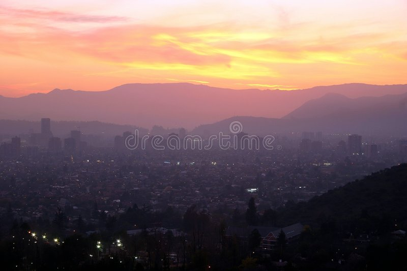 Download Sunset Over Santiago, Chile Stock Photo - Image of hill, building: 467592