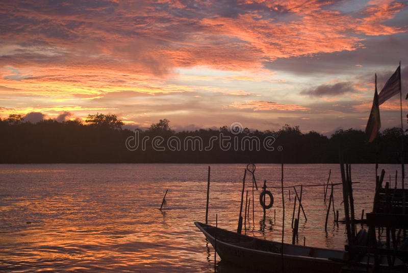 Sunset over Santubong River, Borneo, Malaysia. Sunset over Santubong River in Borneo, Malaysia royalty free stock photos