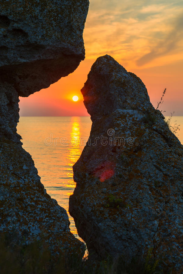 Sunset over the Sea of Azov on Generals beach. Karalar regional landscape park in Crimea. royalty free stock images