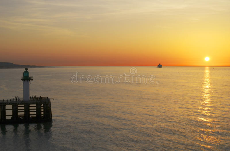 Download Sunset Over Sea At Calais. France Royalty Free Stock Image - Image: 25661776