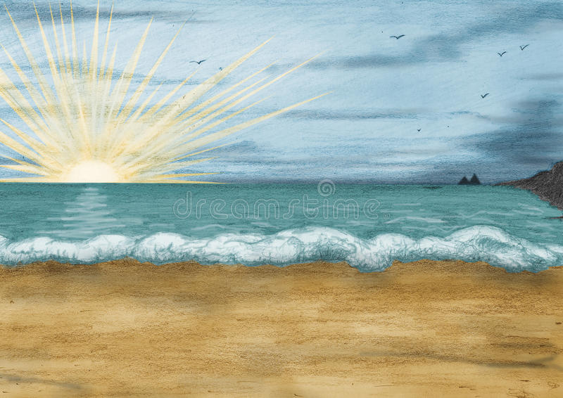 Sunset over the sea vector illustration